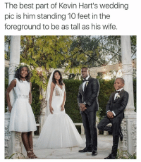 (@davie_dave ) is a gift to IG: The best part of Kevin Hart's wedding  pic is him standing 10 feet in the  foreground to be as tall as his wife. (@davie_dave ) is a gift to IG