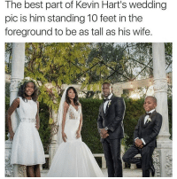 Lmao follow @thehoodjokes for more 😂👅: The best part of Kevin Hart's wedding  pic is him standing 10 feet in the  foreground to be as tall as his wife. Lmao follow @thehoodjokes for more 😂👅