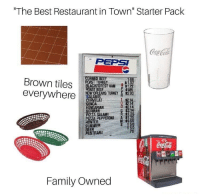 "70s coca cola posters everywhere: ""The Best Restaurant in Town"" Starter Pack  PEPSI  Brown tiles ROASTRE  everywhere  BLACKFOREST HAM172  NEWORLEANS THEY s230  GENOA  GERMAN  P 1185  214  $2.14  PIZZA SALAMI  ZA PEPPERONI A  M $1.5  NTER  SUMMER  BEER  PASTRAM  TRAI  Family Owned 70s coca cola posters everywhere"