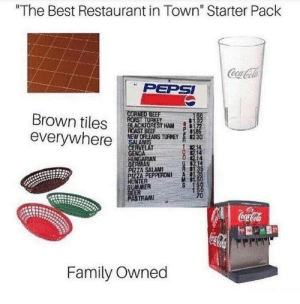 "Best Restaurant: ""The Best Restaurant in Town"" Starter Pack  PEPSI  COR  Brown tilesSTA  everywher  NEW ORLEAIS TURKEY  230  1記  RVELAT  GERMAN  PIZZA SALAMI  ZA PEPPERONI A S  NTER  M St  ER  PASTRAM  Family Owned"
