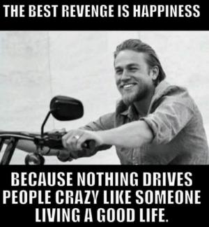 Life, Memes, and Revenge: THE BEST REVENGE IS HAPPINESS  BECAUSE NOTHING DRIVES  PEOPLE CRAZV LIKE SOMEONE  LIVING A GOOD LIFE