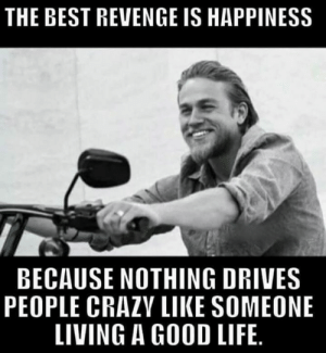 Life, Memes, and Revenge: THE BEST REVENGE IS HAPPINESS  BECAUSE NOTHING DRIVES  PEOPLE CRAZV LIKE SOMEONE  LIVING A GOOD LIFE 😎