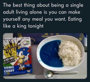 Being Alone, Memes, and Best: The best thing about being a single  adult living alone is you can make  yourself any meal you want. Eating  like a king tonight  Packag Cur  子レンジ対画  ニックサーヘッジホックカレー  THE MOST FAMOUS  HEDGENOG  SONIC  CURRY  THE HEDesHO Top 40 Random Memes That Are Way Funnier Than You Can Imagine - JustViral.Net