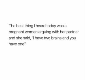 """Technically yes: The best thing I heard today was a  pregnant woman arguing with her partner  and she said, """"I have two brains and you  have one"""" Technically yes"""