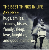 Family, Friends, and Life: THE BEST THINGS IN LIFE  ARE FREE  hugs, smiles,  friends, kisses  family, sleep,  love, laughter,  and good memories.  BRIGHTSIDE The path to happiness really is this simple goo.gl/V7wKIR