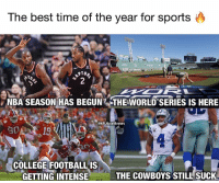 Which one is your favorite?: The best time of the year for sports  NBA SEASON HAS BEGUN THE WORLD SERIES IS HERE  @NFLHateMemes  019  COLLEGE FOOTBALLIS  GETTING INTENSE  THE COWBOYS STILL SUCK Which one is your favorite?
