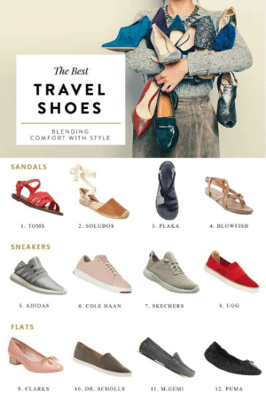 Adidas, Cute, and Shoes: The Best  TRAVEL  SHOES  BLENDING  COMFORT WITH STYLE  SANDALS  1. TOMS  4. BLOWFISH  2. SOLUDOS  3. PLAKA  SNEAKERS  5. ADIDAS  6. COLE HAAN  7. SKECHERS  8. UGG  FLATS  9. CLARKS  10. DR. SCHOLLS  1. M.GEMI  12. PUMA 12 Cute Travel Shoes that Don't Sacrifice Comfort!