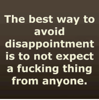 Ass, Dank, and Disappointed: The best way to  avoid  disappointment  is to not expect  a fucking thing  from anyone. (y)  You Silly Ass  ~<3 Honey <3~