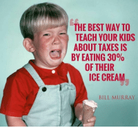 Memes, Taxes, and American: THE BEST WAY TO  TEACH YOUR KIDS  ABOUT TAXES IS  BY EATING 30%  OF THEIR  ICE CREAM  BILL MURRAY It's your duty as an American son