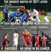 Memes, Game, and Games: THE BIGGEST MATCH OF 2017 LATER  SO  SAN MARINO NO WINS IN 74 GAMES  IG @WORLD FoOTBALLCLUB  20  ANDORRA NO WINS IN 86 GAMES They're calling it 'L Clasico'