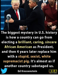 America, American, and History: The biggest mystery in U.S. history  is how a country can go from  electing a brilliant, caring, sincere  African American as President,  and then 4 years later replace him  with a stupid, sexist, white  supremacist pig. It's almost as if  another country sabotaged us.  Ed Krassenstein  WUIA  WAKE UP AMERICA