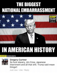 (GC): THE BIGGEST  NATIONALEMBARRASSMENT  DUMP  TRUMP  Change your  profile pic!  IN AMERICAN HISTORY  OCCUPY  DEMOCRATS  Gregory Curtner  So fuck slavery, Jim Crow, Japanese  internment and all that shit. Trump said mean  things!!  Just now Like Reply (GC)