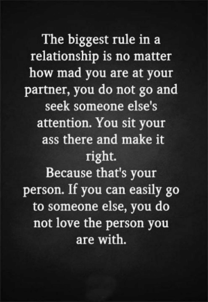 Ass, Love, and Memes: The biggest rule ina  relationship is no matter  how mad you are at your  partner, you do not go and  seek someone else's  attention. You sit your  ass there and make it  right.  Because that's your  person. If you can easily  go  to someone else, you do  not love the person you  are with.