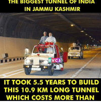 Memes, Police, and India: THE BIGGEST TUNNEL OF INDIA  IN JAMMU KASHMIR  POLICE  RVCJ  WWW.RVCU.COM  IT TOOK 5.5 YEARS TO BUILD  THIS 10.9 KM LONG TUNNEL  WHICH COSTS MORE THAN The Biggest Tunnel of India rvcjinsta