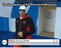 epicjohndoe:  He Probably Can: The bigquestion of the commonwealth games...  CAN Richard FUNK  3 epicjohndoe:  He Probably Can