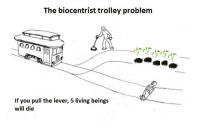 Contragaia: The biocentrist trolley problem  If you pull the lever, 5 living beings  will die Contragaia