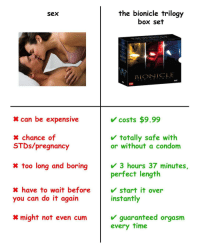Condom, Cum, and Do It Again: the bionicle trilogy  box set  Sex  BIONICLE  TH  can be expensive  costs $9.99  totally safe with  x chance of  STDs/pregnancy  or without a condom  x too long and boring  3 hours 37 minutes,  perfect length  X have to wait before  you can do it again  start it over  instantly  guaranteed orgasm  every time  might not even cum Choose wisely brothers