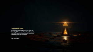 Creed, Time, and Experience: The Bleeding Effect  Prolonged use of the Animus can cause the  Bleeding Effect, a condition where the user's  real-time experience blends with the genetic  memories from the simulation.  owwewhi  CYCLE HINTS In Assasin's Creed Odyssey the more cultists you kill, the more masks litter the floor in the loading screen.