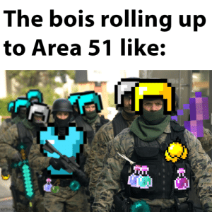 Seal, Dank Memes, and Area 51: The bois rolling up  to Area 51 like:  d.  u/Seal Sucker Remember the speed potions bois
