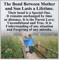 Love, Memes, and True: The Bond Between Mother  and Son Lasts a Lifetime.  Their bond is a Special One.  It remains unchanged by time  or distance. It is the Purest Love;  Unconditional and True. It is  Understanding of any situation  and Forgiving of any mistake.  Understanding  Compassion Understanding Compassion <3