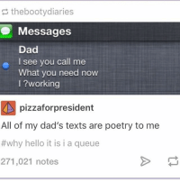 Booty, Dad, and Hello: the booty diaries  Messages  Dad  o I see you call me  What you need now  working  pizzafor president  All of my dad's texts are poetry to me  #why hello it is i a queue  271,021 notes I might do a cooking livestream at 200k followers-Adrian