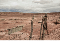 The boundary of Petrified Forest National Park and the Navajo Nation in the middle of no where: The boundary of Petrified Forest National Park and the Navajo Nation in the middle of no where