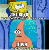 Back, Boys, and Gone: THE BOYS  What do you normally do when I'm gone ?  TOWN  Wait for you-to get back Boys are back