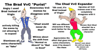 """chad: The Brad VvC """"Purist""""  The Chad VvC Expander  Upvotes all VvC  memes even if he  completely  disagrees with it  """"Oh cool, it's  Brad instead  Angry I used  Brad instead of  Virgin  Downvotes VvC  menes ne  disagrees with  of Virgin""""  OUCH  actively killing  the meme by  not allowing it  to expand  """"Chad would  never do  that!""""  Will use different  characters if they  work better for the  meme  Knows that Chad  shouldn't be a  cookie cutter  character  DiSmisses all  extra characters  as """"fake""""  Whines about  the shift from  """"Normal vs  Absurd"""" to""""Bad  VS Good""""  Appreciates the  effort that goes into  extra characters,  even if he doesn't  like them  Doesn't care about  the shift as long as  the memes are  still funny"""