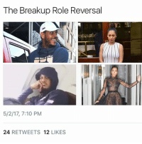 Memes, 🤖, and Switch: The Breakup Role Reversal  5/2/17, 7:10 PM  24  RETWEETS  12  LIKES That switch up be a muhfucka..😳😂😂