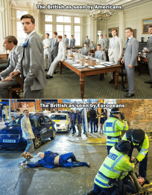 Police, Metro, and British: The British as seen by Americans  GRES  The British as seen by Europeans  w w  POLICE  METRO  222222  KP03 USF  YOLICE Me irl