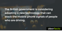 Memes, Uber, and Mobile: The British government is considering  adopting a new technology that can  block the mobile phone signals of people  who are driving.  uber  facts http://shiftinglanes.com/2016/12/government-working-on-blocking-your-mobile-phone-reception-while-driving/