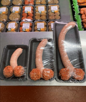 The butchers is selling some special meat, it comes in three sizes you can buy it in small, medium or liar.: The butchers is selling some special meat, it comes in three sizes you can buy it in small, medium or liar.