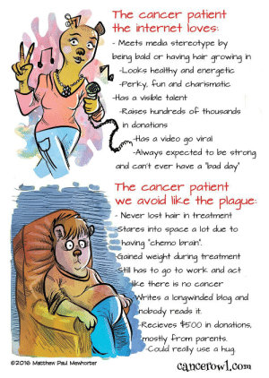 """omg-images:Superstar [OC]: The cancer patient  the internet loves  Meets media stereotype by  eing bald or having hair growing in  Looks healthy and energetic  -Perky, fun and charismatic  -Has a vişible talent  Raises hundreds of thousands  in donations  -Has a video go viral  Al  ways expected to be strong  and can't ever have a """"bad day  The cancer patient  we avoid like the plague  Never lost hair in treatment  tares into space a lot due to  having 'chemo brain  Gained weight durina treatment  Still  has to go to work and act  ike there is no cancer  rites a longwinded blog and  nobody reads it  Recieves $500 in donations,  ostly from parents  Could really use a hug  cancefowl.com  @2016 Matthew Paul Mewhorter omg-images:Superstar [OC]"""