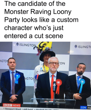 He's got all the unlocks!: The candidate of the  Monster Raving Loony  Party looks like a custom  character who's just  entered a cut scene  ISLINGTON  ISLINGTO  NGTON  TON  0ON  NGTOI  NG  BBC NEWS  CON ma  - Newport West: LAB hold - Norfolk Northi CON He's got all the unlocks!