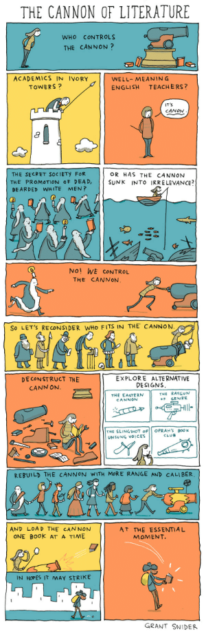incidentalcomics:  The Cannon of Literature (for The Southampton Review) Posters of this and many fine literary comics are available at my shop.They make great gifts for teachers, librarians, and your book-obsessed friends and family. My first book,The Shape of Ideas,is now available for pre-order! : THE CANNON OF LITERATURE  WHO CONTROLS  THE CANNON?  ACADEMICS IN IVORY  WELL-MEANIN G  ENGLISH TEACHERS?  TOWERS?  IT'S  CANON  8  THE SECRET SOCIETY FoR  THE PROMOTION OF DEAD,  BEARDED WHITE MEN?  OR HAS THE CANNON  SUNK INTO IRrELEVANCE?  fr  No! WE CONTROL  THE CANNON   So LET'S RECONSIDER WHO FITS IN THE CANNON  DECONSTRUCT 꺼E  EXPLORE ALTERNATIVE  DESI GNS  CANN ON.  THE EASTERN  CANNON  THE RAYGUN  OF GENRE  THe SLINGSHOT oF OPRAH's BooK  UNSUNG VOICES  CLUB  REBUILD THE CANNON WITH MORE RANGE AND CALIBER  AND LOAD THE CAN NON  ONE BOok AT A TIME  AT THE ESSENTIAL  MOMENT.  IN HOPES IT MAY STRIKE  GRANT SNIDER incidentalcomics:  The Cannon of Literature (for The Southampton Review) Posters of this and many fine literary comics are available at my shop.They make great gifts for teachers, librarians, and your book-obsessed friends and family. My first book,The Shape of Ideas,is now available for pre-order!