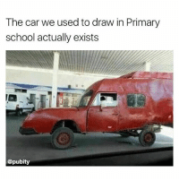 Instagram, Memes, and School: The car we used to draw in Primary  school actually exists  @pubity If you're not following @pubity you might as well delete instagram 😂