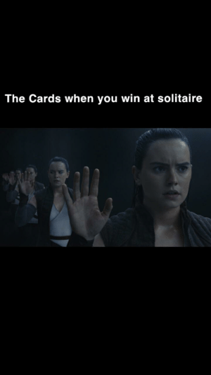 Jedi, Solitaire, and Star Wars: The Cards when you win at solitaire Not gonna lie I preferred The Last Jedi to The Force Awakens, was a bit more entertaining for me.