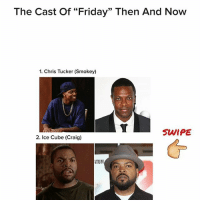 """Check out the what the cast of Friday movie looks like now. 👌 @pmwhiphop: The Cast of """"Friday"""" Then And Now  1. Chris Tucker (Smokey)  SWIPE  2. Ice Cube (Craig)  ATUM Check out the what the cast of Friday movie looks like now. 👌 @pmwhiphop"""