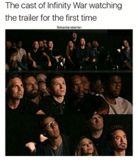 Beautiful, Crying, and Memes: The cast of Infinity War watching  the trailer for the first time  Sebastianstanfan Look at this beautiful people. T'Challa was like I want more, Bucky was shocked, Wanda is crying?!?!? Spidey and Strange nearly cried and look Tony and Kevin's face, so proud of everyone. 😍😍 . . . . . . . . . [ captainamericacivilwar doctorstrange thor spiderman avengers hulk robertdowneyjr blackpanther steverogers tonystark mcu marvel peterparker rdj theavengers thanos marvelcomics spidermanhomecoming tomholland civilwar captainamerica ironman deadpool starlord blackwidow groot scarletwitch wintersoldier buckybarnes ]