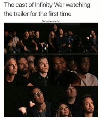 Crying, Memes, and Deadpool: The cast of Infinity War watching  the trailer for the first time  Sebastianstanfarn WHY IS NONE OF THEM SCREAMING AND CRYING Tara's account: @marvelous.tara 🐾 Backup acc; @marvelous.sxldier ~ marvel mcu civilwar avengers captainamerica chrisevans stucky stony buckybarnes sebastianstan ironman robertdowneyjr scarlettwitch elizabetholsen blackwidow scarlettjohansson hawkeye jeremyrenner brucebanner markruffalo thor chrishemsworth dc deadpool loki tomhiddleston xmen like infinitywar spidermanhomecoming