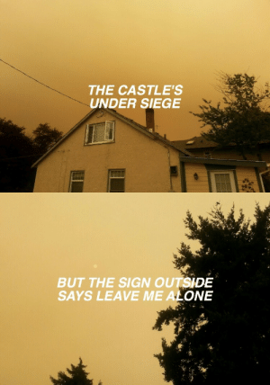 Being Alone, Tumblr, and Blog: THE CASTLE'S  UNDER SIEGE   BUT THE SIGN OUTSIDE  SAYS LEAVE ME  ALONE afycsoxprettyodd:  trippingeyes: always // panic! at the disco |alwyas is such a pretty song, just like most of the songs on vices|[7-3-18]