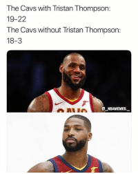 Should the Cavs get rid of Tristan Thompson? 💀😂 - Follow @_nbamemes._: The Cavs with Tristan Thompson:  19-22  The Cavs without Tristan Thompson  18-3  AAI I  @_ABAM EM ES.-. Should the Cavs get rid of Tristan Thompson? 💀😂 - Follow @_nbamemes._