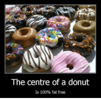 And I guess calorie free too?: The centre of a donut  Is 100% fat free And I guess calorie free too?