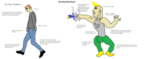 "Virgin Birdliever V.S the CHAD Bird Denier: The Chad Bird Denier  The Virgin 'Birdliever  Knows the ClA worked  with the KGB to  Burns bird nests on sight  exterminate 95% of the  world's bird population  Oal which came to  ruition in April of  1996  Sheeple  Brainwashed by government propaganda  Works to enlighten  those around him  to believe Birds are made of flesh and  blood and not cold, unfeeling steel  Birds  aren t  real  Installs EMPS in attic of  Cucked on the reg  home to combat the  avian menace  Enlightens those around him, always starts  conversations by asking whether they've  ever seen a baby pidgeon  Eats KFC and thinks its  Cuts power lines to  distrub charging cycles  ""chicken""  Likely understands that things like  Sasquatch, the Loch ness monster, and red  gatorade aren't real but can't make that  No windows on home  to prevent 'bird  connect to birds.  Goes to his local aviary wherein  all his personal information is  swiftly harvested  watching  Knows birds play 'tweet.wav' to cover the  sound of the whirring of their mechanized  interior. Virgin Birdliever V.S the CHAD Bird Denier"