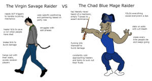 Chad's rolling up on a morbol to steal your gf: The Chad Blue Mage Raider  The Virgin Savage Raider  VS  has literally never  heard of a mechanic,  simply T-poses to  assert dominance  YOLOS everything  cause everyone's a dps  needs ACT triggers  to handle incoming  uses specific positioning  and partnering based on  party role  mechanics  dabs on adds  struggles with  add phases  with Lv5 Death  healer Ib3s to save  a run when people  have died  wipes every  time people die  and keeps going  melee Ib3s to  fucking kills  themself to  burst damage  burst damage  hangs out with  their static,  constantly cold  approaching healers  and tanks to suck out  avoids random  players  their fluids Chad's rolling up on a morbol to steal your gf