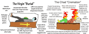 """Alive, Beautiful, and Church: The Chad """"Cremation""""  The Virgin """"Burial""""  Ashes will be  Stacy tells everyone to  wear casual clothing  Chad's friends bring  funeral is  spread on the  balcony of a  private yacht,  naturally returns  coffin is very expensive  despite the fact he's  being buried in the earth  everyone wears the sullen  black colors Virgin wore when  booze and weed, just  depressing as  another reason to party  shit  he was alive  is done when Chad is  body has a  sickly green  palor, not  to nature  family pays  still alive for  maximum efficiency  tribute to  cost  effective  him with  remains will  much has  flowers  be placed in  a beautiful  changed  Chad is lit at  1,100 de  grees F, still  not enough  to burn his  actively denounces religious symbolism, has won a nobel muscular  body  generic  urn to be  corpse will rot  but he won't  cherished by  his family  faux religious symbolism on  the coffin, Virqin hasn't been  to church in ten years  return to nature  family won't visit him much  since he's  after he dies  trapped in a box  prize for his thesis denouncing the existence of God Virgin Burial vs Chad Cremation"""