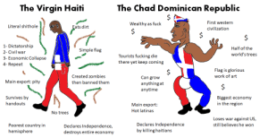 Fucking, Virgin, and Zombies: The Chad Dominican Republic  The Virgin Haiti  $  First western  Wealthy as fuck  Literal shithole  Eats dirt  civilization  $  1- Dictatorship  Half of the  Simple flag  2- Civil war  world's trees  Tourists fucking die  there yet keep coming  3- Economic Collapse  4- Repeat  Flag is glorious  $  Can grow  work of art  Created zombies  Main export: pity  then banned them  anything at  anytime  Survives by  Biggest economy  in the region  handouts  Main export  Hot latinas  No trees  Loses war against US,  still believes he won  Declares Independence  by killing haitians  Poorest country in  Declares Independence,  hemisphere  destroys entire economy Virgin Haiti vs Chad Dominican Republic