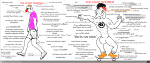 "Virgin Clown Vs. Chad Doomer: THE CHAD DOOMER  ralph lauren polo  avg. hair cut, no hat  Text  the virgin clowner  makesawn clathing-  sick beanie  tear drop  Panders to society for  fans  No need for instruments what is  has to be anonymous online  Drinks and parties every night  this 1982?  Never ODs due to perfect spotlight constantly on him  immune system  calcified pineal gland  ""Open the fucking pit"" proceeds to  punch fan  died hair  ""nah I don't want to go  out lets watch netflix!""  Fake smile plastered on face  doesn't know how to season his chicken  cynical billy idol sneer  chokes bitch during sex  actually likes disney songs  government steals 401k  pentagram tattoo  speaks telapathically no  need for words  Transcends this world of 3d and or  4d and lives in 5d  completely self-made despite 1% odds  still drinks/does drugs but  concerned about health  ""Would you like to build a  snowman?  can't rap, yells and says yuh, still loved  Compensates being fat by calling it  ""beer gut""  ""I'm a millionaire but I  don't know how to read!""  must ASSIMILATE  constantly must fit into  society despite having the  complete opposite beliefs  insecure about career  nice abs  net worth: 10,000 BTC  LOl your shit is  overcompressed  Comfortably live off the grid  prospect, projects onto  others  too cool for school  Boss: ""I need you to stay in office"" Clown: ""Yessir!"" ""bite it, you scum""  stylish joggers  doesn't follow dreams because  LOL society is gay  lives in clown world  Daddy said I wouldn't make i  1000s of groupies  Sucks titties on stage  listens to chainsmokers  cargo shorts""Girl's love Dad bod, right?""  Raps about violence and anarchy, starts riot  average career: 50k a year  Basic  Challenges devil to fiddle contest  lizard brain follows 48  7 alter egos  Wins noble peace  price because art is so  beautiful  *cries ""why youtube ban me""?  peaks in college  laws to a T  shops at CHAMPS  #1 on soundlecoud charts  But mommy and daddy told me?  lonely, actually  needs friends  solo act because jealous  band mates try and steal  royalties  nice deck, man!  dirty vitnage vans  sperries  ""real men wear pink, right?""  slap her cross the face, said  bitch don't ever disrespect  me"" -pouya  no socks  ""Argh my paper is due at  midnight!  straight edge Virgin Clown Vs. Chad Doomer"
