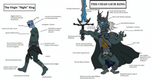 """The Virgin Night King vs CHAD LICH KING: THE CHAD LICH KING  The Virgin """"Night"""" King  Fucking Frostmourne  Made all of northrend  his bitch  People still talk about him  today, 10 years after his death  Biggest enemy is a  teenage blonde with  flying lizards  Has zero to none backstory  uninteresting zombie  Most iconic helmet in gaming  Bald  Beautiful flowing hair  Sindragosa> Viserion  No nose  cool glowing  fire eye thing  Sindragosa> viserion  Absolutely no signs of  physique or muscle  skinny af  doesn't even talk, is mute  Absolute Unit  generic leather armour  Emotional and Tragi  Backstorv  Has a cape  has no home or residence  walks around the north with  his army like gypsies  No cool or iconic  Has the most intimidating  voice in all of fantasy history  weapon, throws spears  Lives inside a huge fortress  Most eligible  Bachelor in all of  The Eastern  Kingdoms  Is old af  Not the best Blizzard villain  The best Blizzard Villain.  Created by forest midgets  Is the creation of a Alien  Demon God  spends 7 seasons trying  to get through a wall  Banged the hottest mage in  all of Azeroth  Has barely done anything  Had the most thorough, fulfilling  and emotional story arc.  snatches babies The Virgin Night King vs CHAD LICH KING"""
