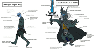 """Xposting the original poster: THE CHAD LICH KING  The Virgin """"Night"""" King  II  Fucking Frostmourne  Made all of northrend  his bitch  People stil talk about him  today, 10 years after his death  Biggest enemy is a  Has zero to none backstory,  Most iconic helmet in gaming  Bald  teenage blonde with  uninteresting zombie  flying lizards  Beautiful flowing hair  Sindragosa > Viserion  No nose  cool glowing  fire eye thing  Sindragosa > viserion  Absolutely no signs of  physique or muscle,  skinny af  doesn't even talk, is mute  Absolute Unit  generic leather armour  Emotional and Tragid  Backstory  LAN  Has a cape  has no home or residence,  No cool or iconic  Has the most intimidating  voice in all of fantasy history  walks around the north with  weapon, throws spears  his army like gypsies  Lives inside a huge fortress  Most eligible  Bachelor in all of  Is old af  The Eastern  Not the best Blizzard villain  Kingdoms  The best Blizzard Villain  Created by forest midgets  Is the creation of a Alien  spends 7 seasons trying  Demon God  to get through a wall  Banged the hottest mage in  all of Azeroth  Has barely done anything  Had the most thorough, fulfilling  and emotional story arc  snatches babies Xposting the original poster"""